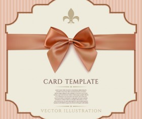 Beige bow card template vector 04
