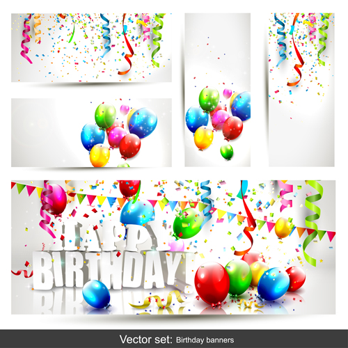 Birthday Banners With Color Balloon Vector 01 Free Download
