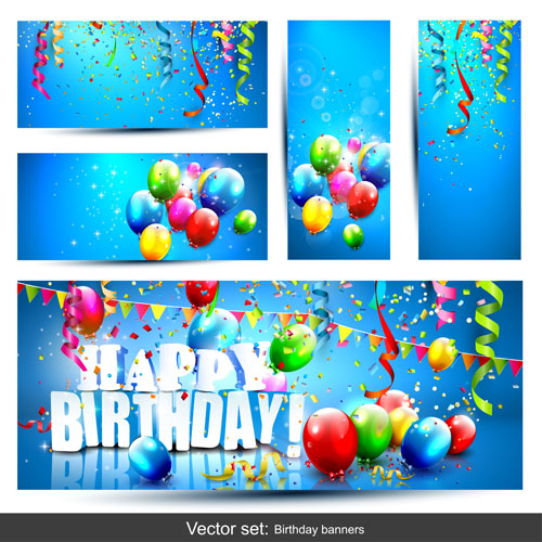 Birthday Banners With Color Balloon Vector 02 Free Download