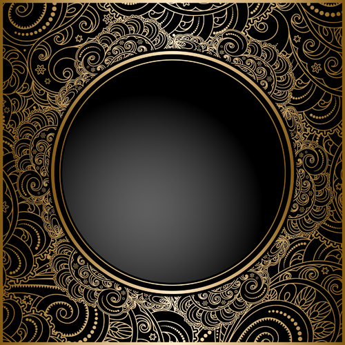 black with golden vintage background art vector 02 free