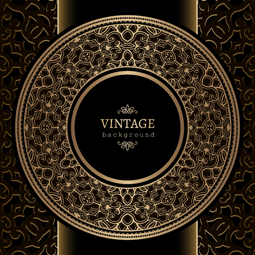 black with golden vintage background art vector 04 free