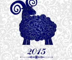 Blue floral sheep 2015 new year background