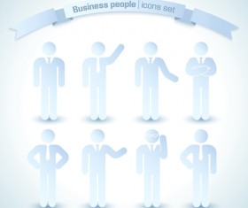 Business people white icons material 01