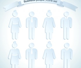 Business people white icons material 02