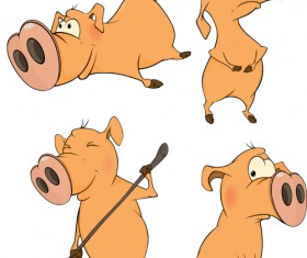 Cartoon big nose pig vector design 01