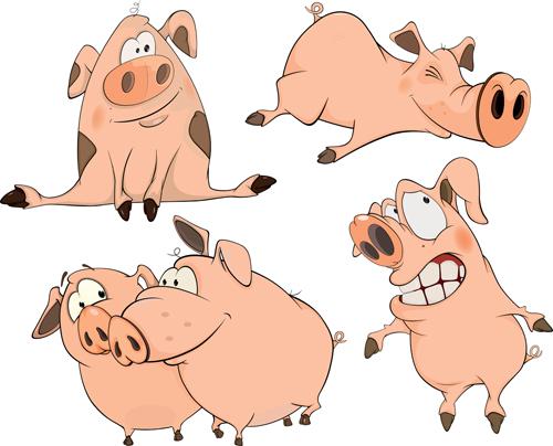 cartoon big nose pig vector design 02 free download