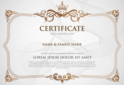 Certificate Template With Retro Frame Vector 03 Free Download