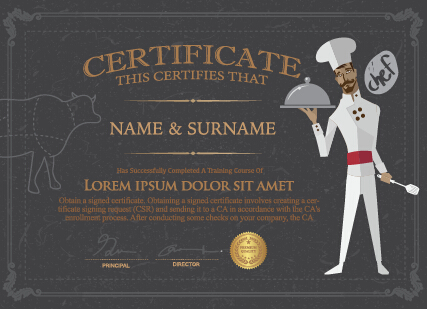 Chef Certificate Template Vector Vector Cover Free Download