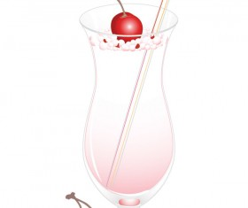 Cherry juice and glass cup vector 02