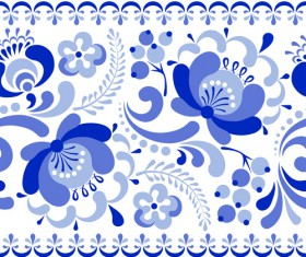 Chinese blue and white seamless pattern vector 01