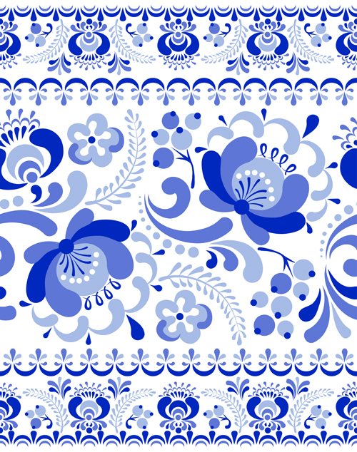 Chinese Blue And White Seamless Pattern Vector 01 Vector