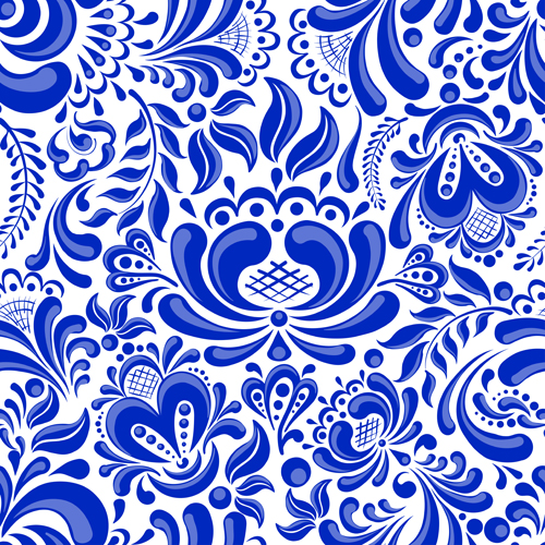 Chinese blue and white seamless pattern vector 02