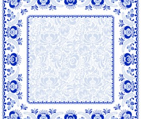 Chinese style blue and white frame vector