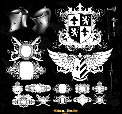 Classical heraldry ornaments vector material 01