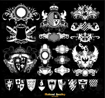 Classical heraldry ornaments vector material 02