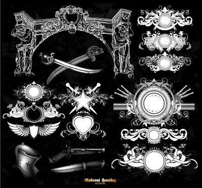 Classical heraldry ornaments vector material 04