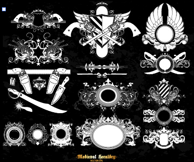 Classical heraldry ornaments vector material 05