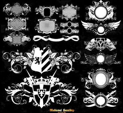 Classical heraldry ornaments vector material 06
