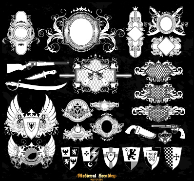 Classical heraldry ornaments vector material 07