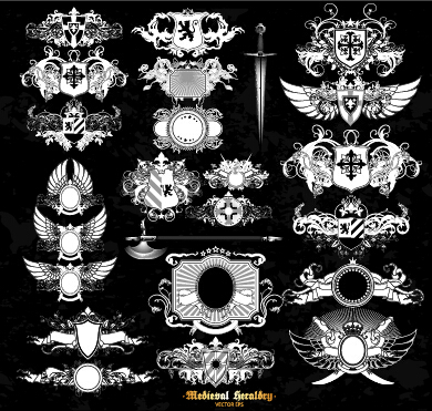 Classical heraldry ornaments vector material 08