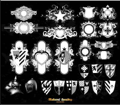 Classical heraldry ornaments vector material 09