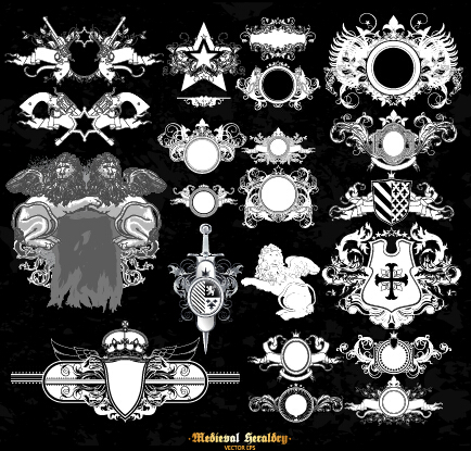 Classical heraldry ornaments vector material 10