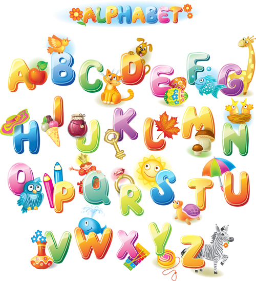 colored alphabet with children literacy vector 01 - Children Images Free Download