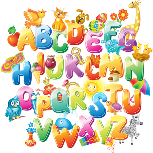 colored alphabet with children literacy vector 02 - Children Images Free Download