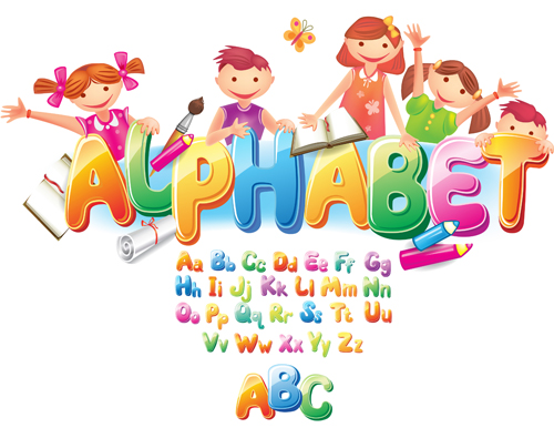 Colored alphabet with children literacy vector 04 free download
