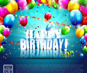 Confetti and colorful balloons birthday background vector 01
