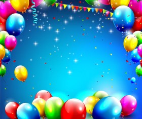 Confetti and colorful balloons birthday background vector 02