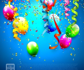 Confetti and colorful balloons birthday background vector 03