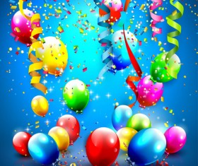Confetti and colorful balloons birthday background vector 04