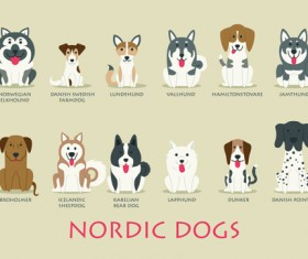 Creative nordic dogs icons vector