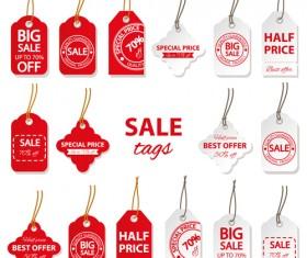 Creative red and white sales tags vectors 01