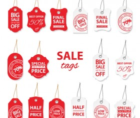 Creative red and white sales tags vectors 02