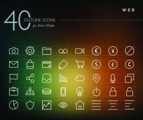 Creative web outline icons vector pack 02