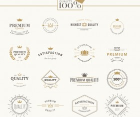 Crowns labels retro style vector 01