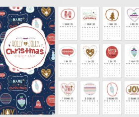 Cute christmas style 2015 calendar vector