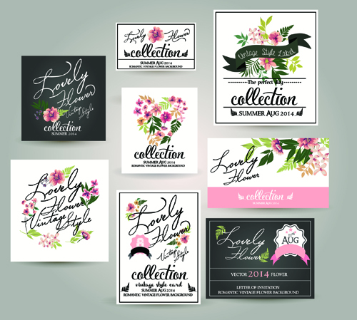 Different flower wedding invitation cards vector