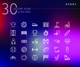 Different sport outline icons set