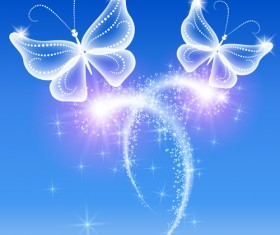 Dream butterfly with shiny background vector 01