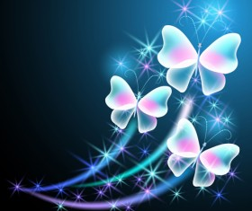 Dream butterfly with shiny background vector 04