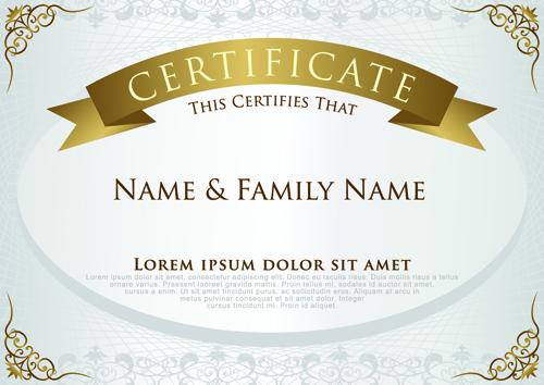 Elegant Certificate Template Vector Design 01