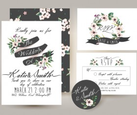 Elegant flower wedding invitation card kit vector 01