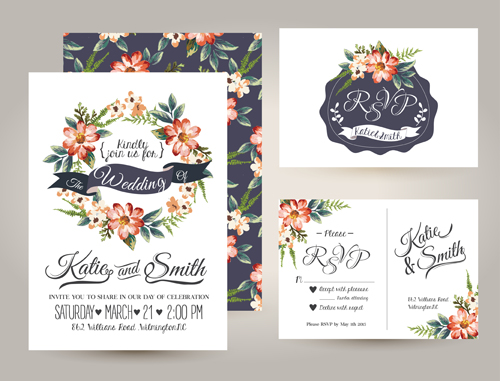 Elegant flower wedding invitation card kit vector 02