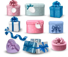 Exquisite gift boxes with ribbon vector set 01