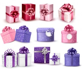Exquisite gift boxes with ribbon vector set 04