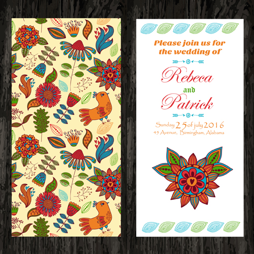 Floral ethnic pattern wedding invitations vector set 01 free download