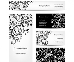 Floral style business cards kit vector 03